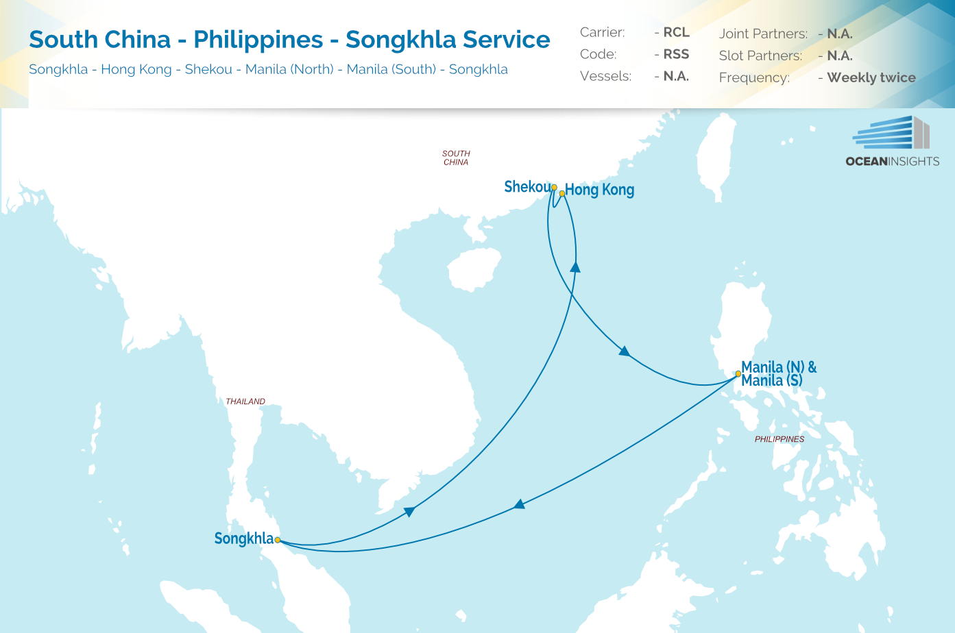 Rcl new south china philippines songkhla service rss launched twice weekly sailings on weekend positions to hong kong and south china with the rss songkhla on sundaymonday and rsk songkhla on saturdaysunday gumiabroncs Gallery