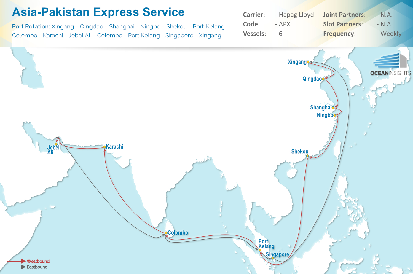Map Of Asia Karachi.Hapag Lloyd New Asia Pakistan Express Apx Service
