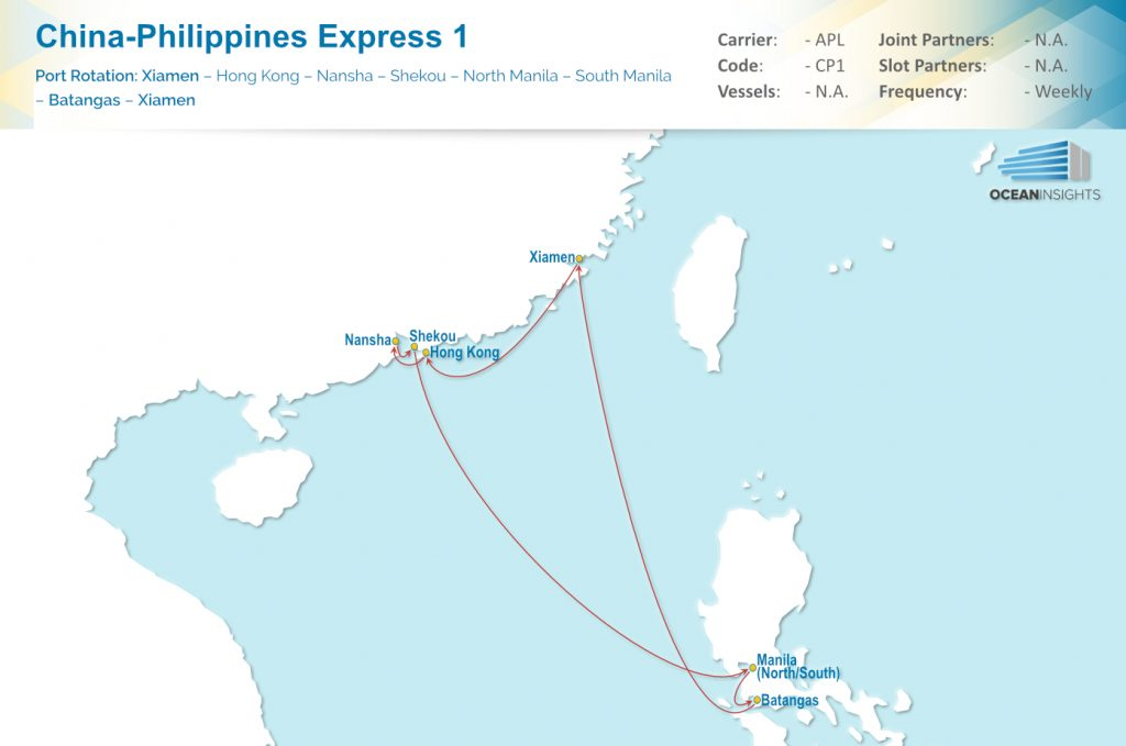 APL: Port Calls Added to China-Philippines Express 1 (CP1 ...: https://www.ocean-insights.com/liner-news/new-ports-calls-cp1/