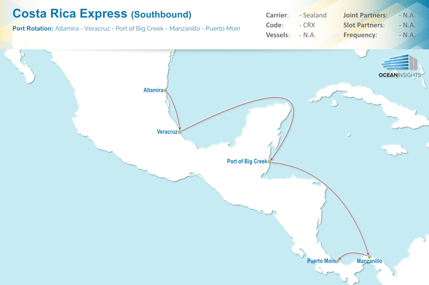 Altamira Mexico Map.Sealand New Crx Service Connecting Mexico To Costa Rica And Panama