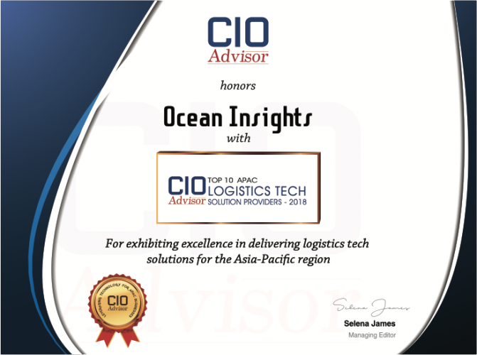 CIO Advisor APAC Recognised Ocean Insights for Logistics Tech Solution Provider